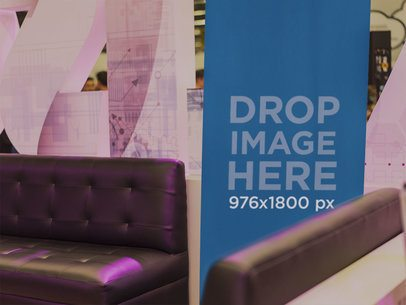 Vertical Banner Mockup in a Lounge Area a11284