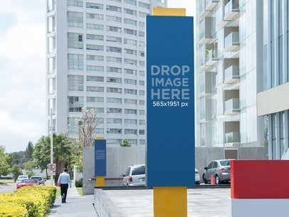 Mockup of Vertical Banners in a Cityscape a11043
