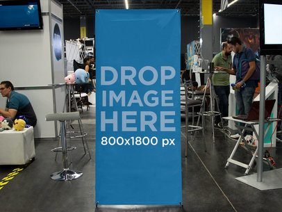 Vertical Banner Mockup at a Toy Expo a11252
