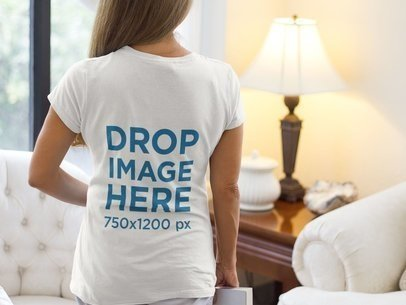 Back of a Senior Lady Wearing a T-Shirt Mockup in her Living Room a11367b