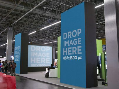 Trade Show Stand Mockup Featuring Vertical Banners and Screen a11243