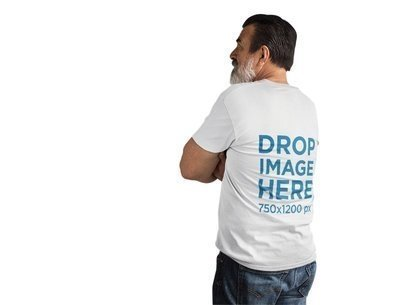 Back of a Middle-Aged Man Wearing a Tshirt Mockup at a Studio a11311b