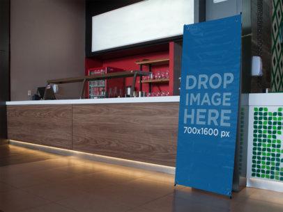 Vertical Banner Mockup at a Fast Food Restaurant a11269