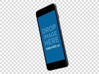 Transparent iPhone Mockup Floating on an Angled Position a11550
