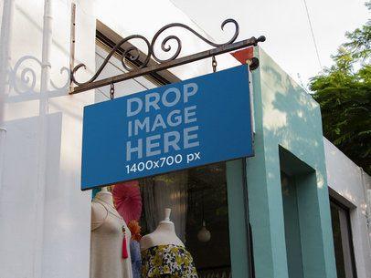 Banner Mockup Outside a Vintage Boutique a10826