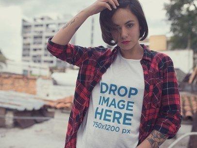 Hipster T-Shirt Mockup of a Woman Wearing a Plaid Shirt a11515