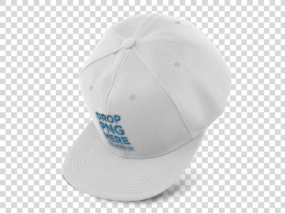 Floating Snapback Hat Mockup Over a PNG Background a11702