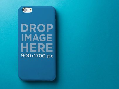 Phone Case Mockup Over a Blue Background a11794