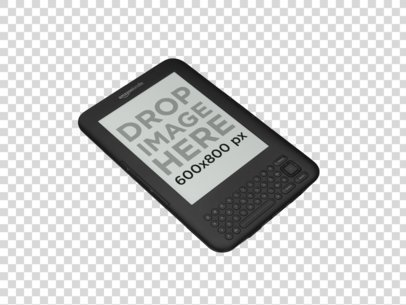 Kindle with Keyboard Mockup Over a PNG Background a11819 print