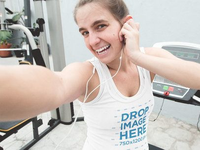 Young Girl Exercising Taking a Selfie with a Tank Top Mockup a12928