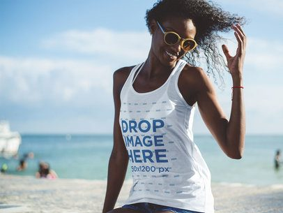 Tank Top Mockup of a Woman Flipping Her Hair at the Beach a12738