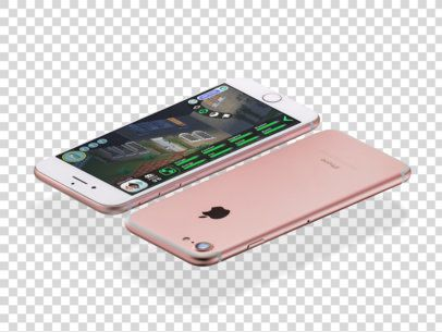 Front and Back of a Rose Gold iPhone Mockup Floating Angled on Landscape Position Over a Transparent Surface a14105