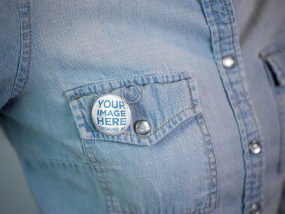 Button on a Woman Denim Jacket Chest Pocket Template a14279