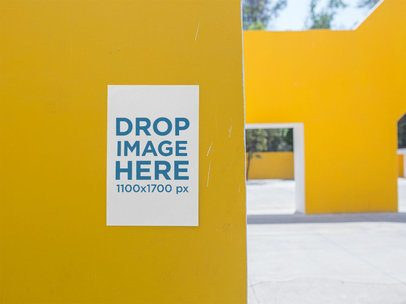 Poster on a Yellow Wall of an Urban Structure Mockup a14394