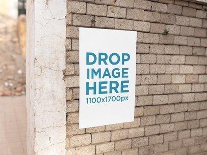 Poster On a Concrete Bricks Wall Mockup a14636