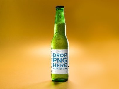 Green Lager Beer Bottle Template Against an Orange Background a14665