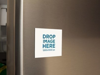 Fridge Magnet Mockup on a Metallic Fridge Door a14799