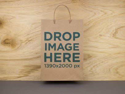 Paper Bag Template Standing Against a Wooden Wall  a14721