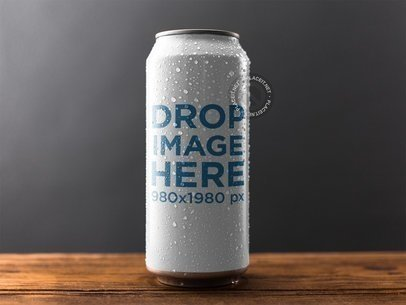Wet Can Template Standing on a Wooden Surface Against a Gray Background a14677