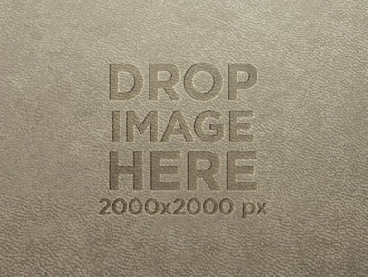 Burned Logo on a Gray Leather Texture Template a14809