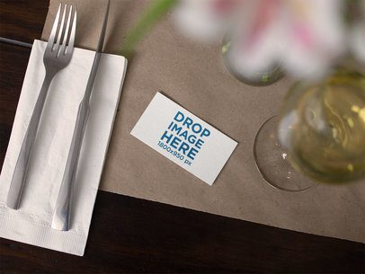 Business Card Mockup Lying on a Restaurant Table a15008