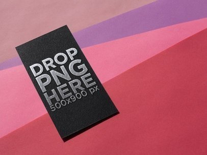 Foil Business Card Mockup on a Pink Surface a14990