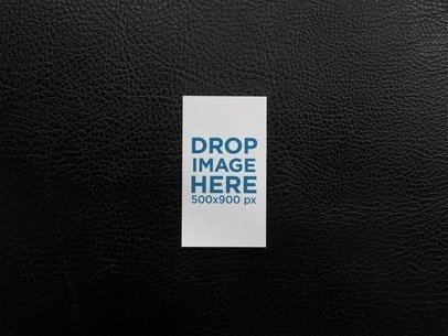 Vertical Business Card Template Lying on a Leather Texture a14998