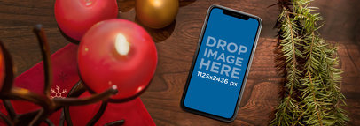 Christmas Table with an iPhone X Mockup a17548